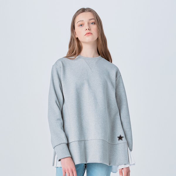 SIDE ZIPPER PLEATS SWEATSHIRT
