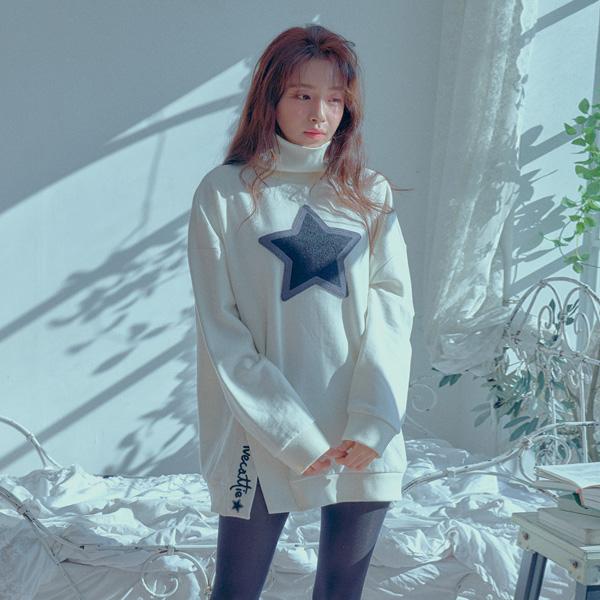 [JULIETTE] STAR MOTIVE APPLIQUE LONG SWEATSHIRT