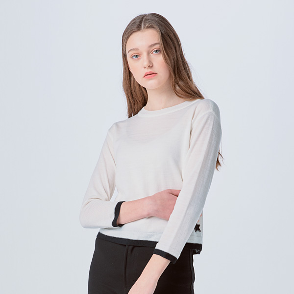 [SUZANNE]  MONO LINING KNIT PULLOVER