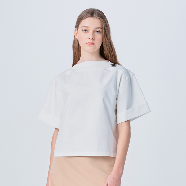 [SUZANNE] CROSSOVER HALF BLOUSE