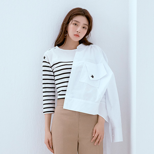 OVER SIZED CROP SHIRT