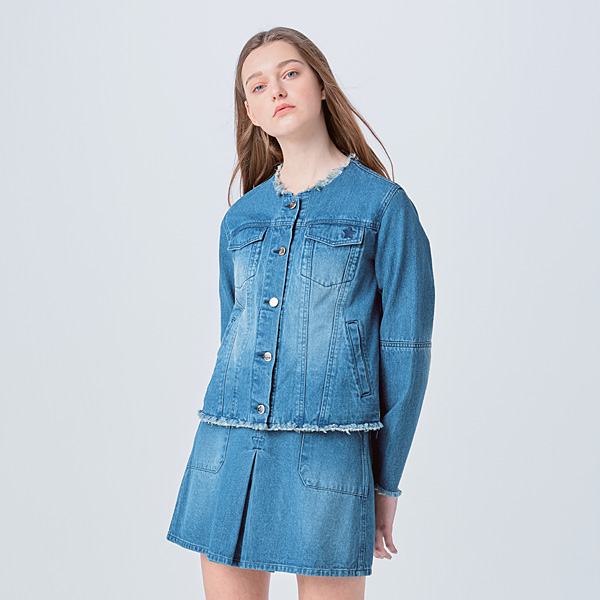 WASHED FRINGING DENIM JACKET INDIGO