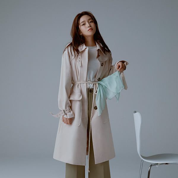 [SUZANNE] BELTED OUT POCKET TRENCH COAT