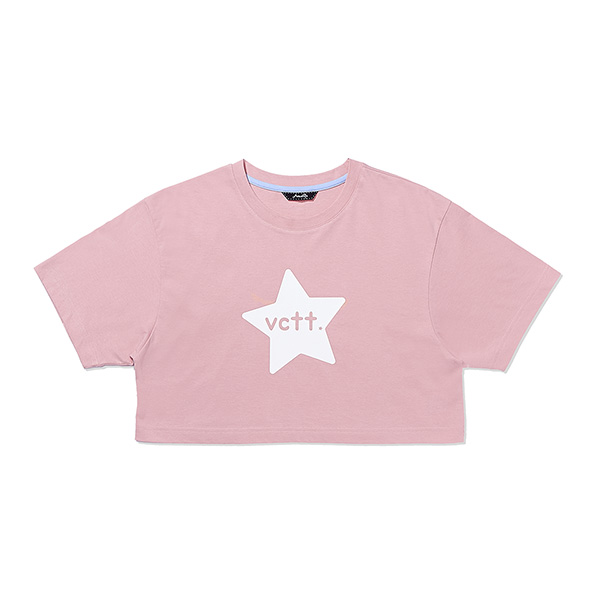 STAR PRINT CROP T-SHIRT PINK