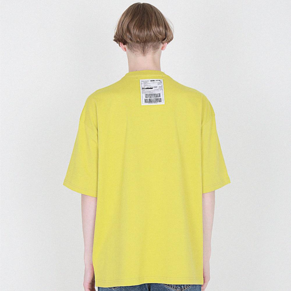 [16수] back of neck Label 반팔 옐로우그린