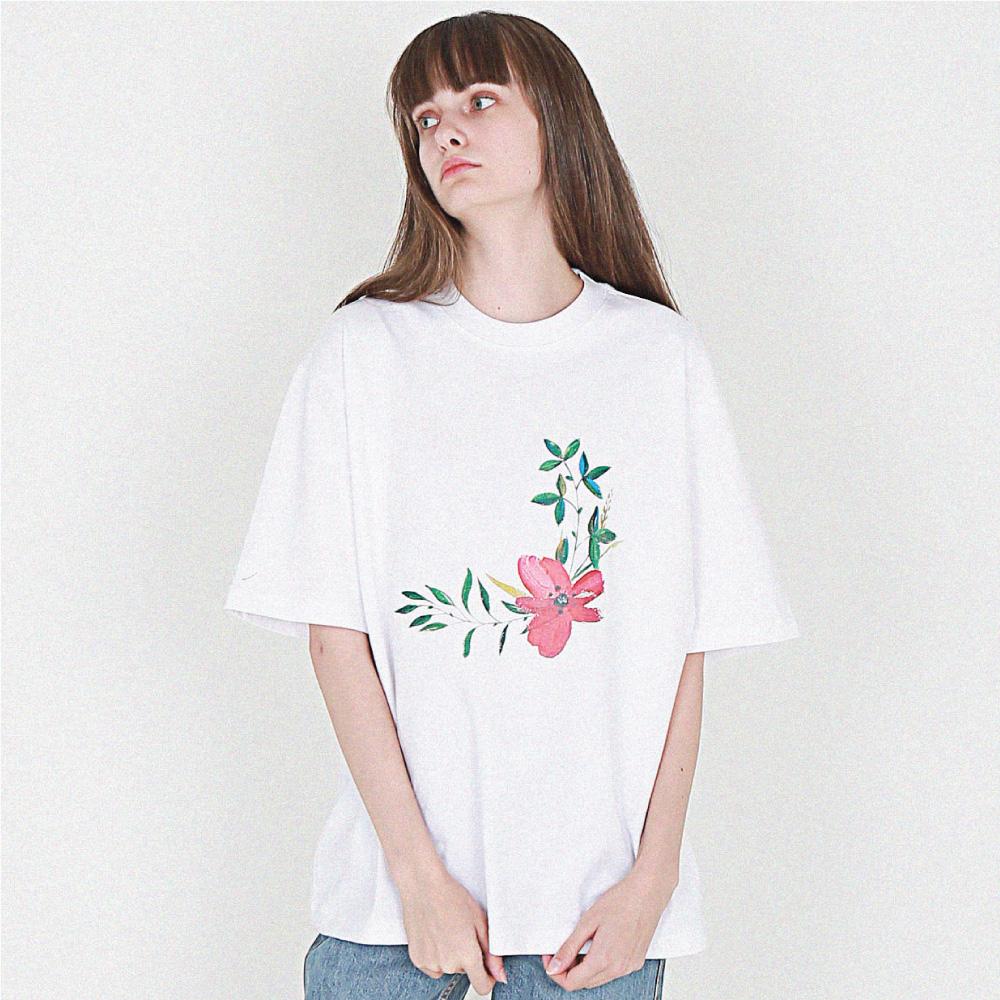 [16수] 미니멀 flower printing 반팔 화이트