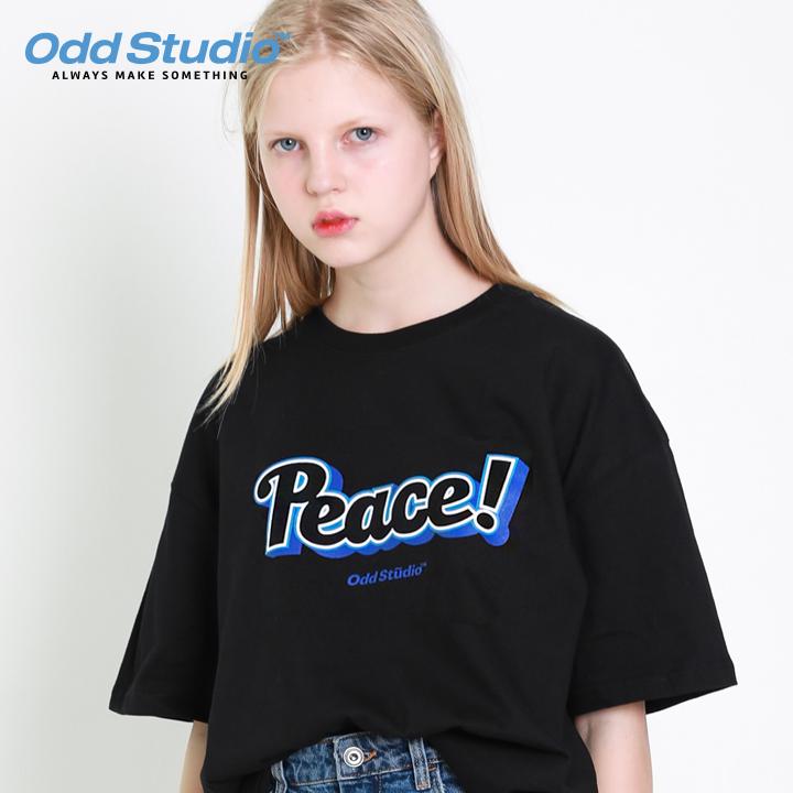 오드스튜디오 피스 로고 티셔츠 - BLACK