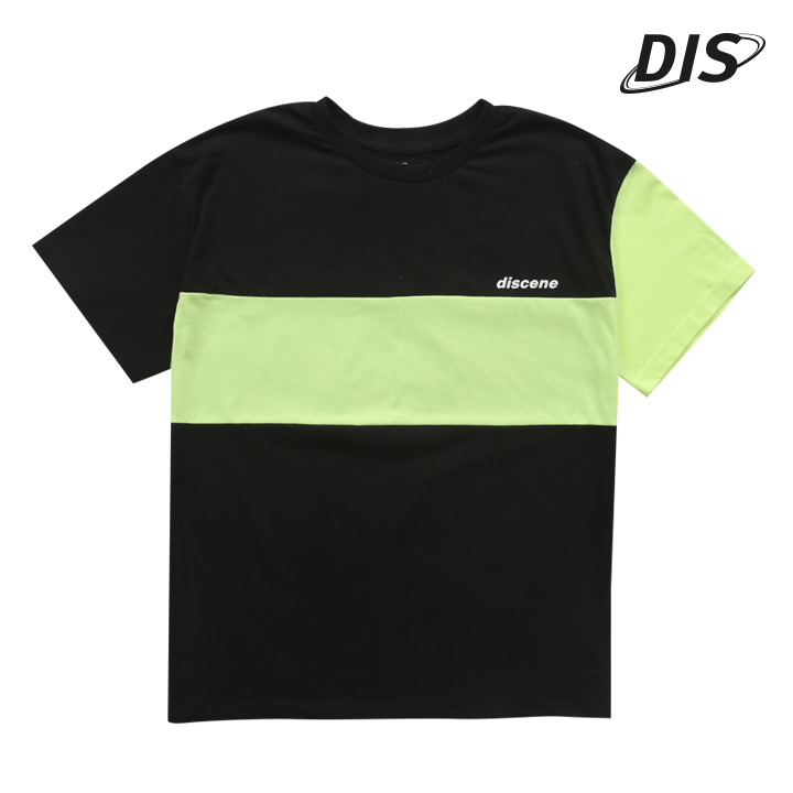 디씬 - 소매 절개 배색 반팔 - 블랙/형광