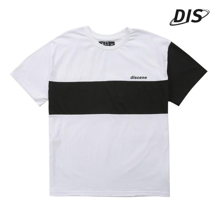 디씬 - 소매 절개 배색 반팔 - 화이트/블랙