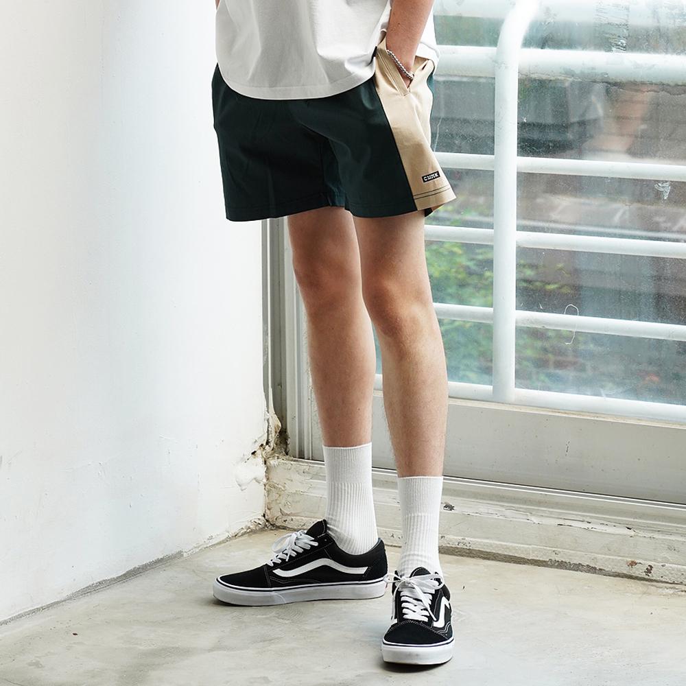 Color Block Span Short Pants(Green)