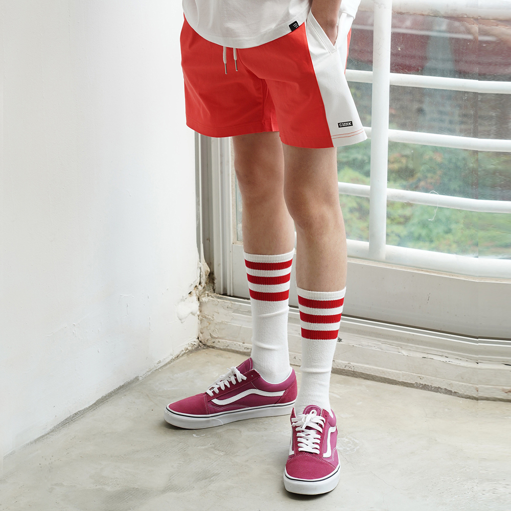 Color Block Span Short Pants(Coral Red)