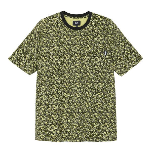 19SS 스투시 해골 프린팅 티셔츠 라임