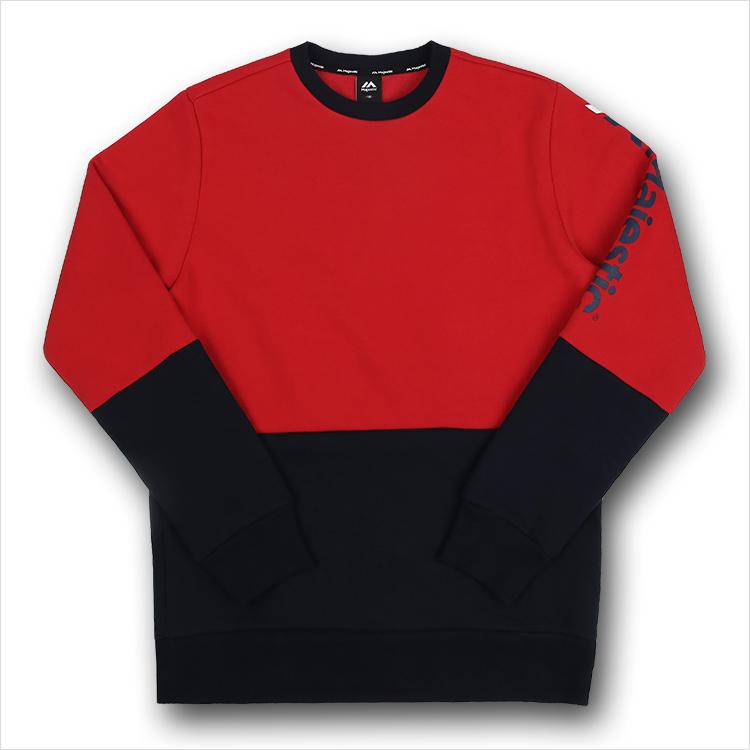 [MAJESTIC] ML173MCAMT006 면 폴리 혼방 쮸리 기모 맨투맨 티셔츠(레드)