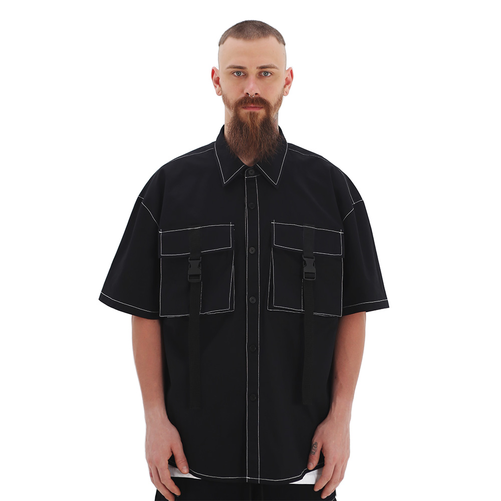 ROCKPSYCHO(V) Buckle Cargo short shirt-Black / 버클카고셔츠-블랙