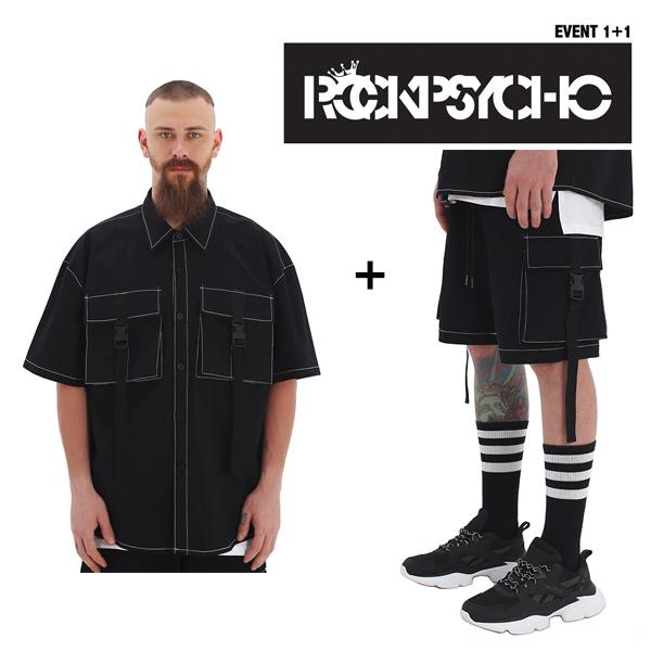 [단독벨트증정][1+1] [단독상품]ROCKPSYCHO(EVENT!!) Buckle Shirt + Buckle Pant / 락사이코 버클셔츠+반바지!!
