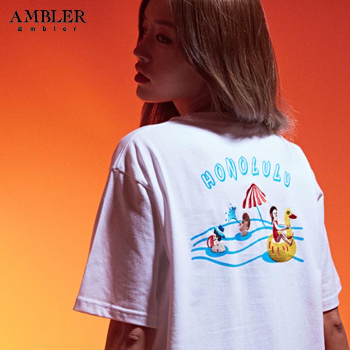 [엠블러]AMBLER 19SS 신상 반팔 티셔츠 AS632-화이트