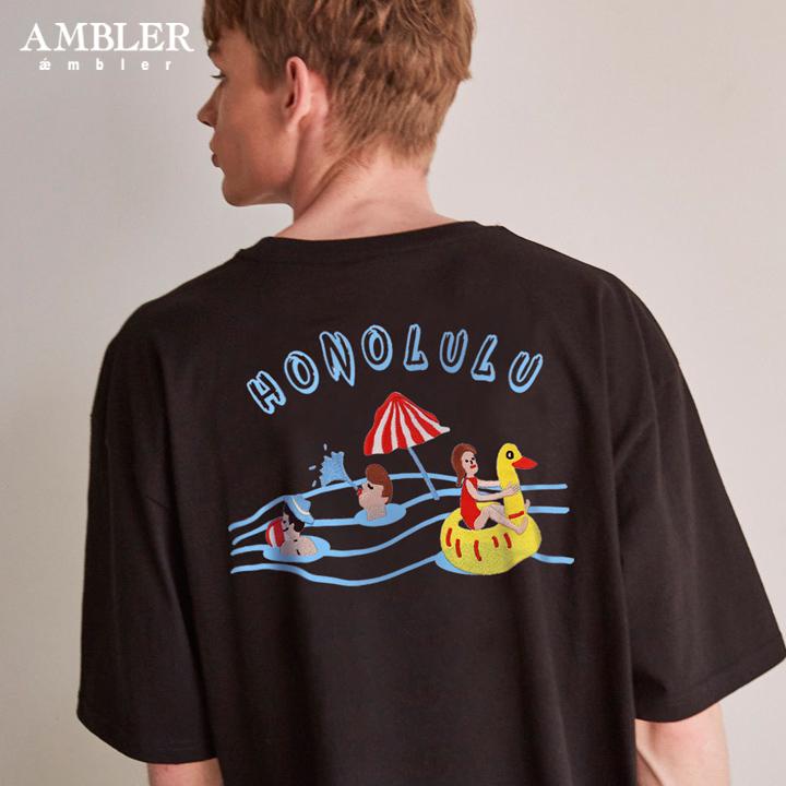 [엠블러]AMBLER 19SS 신상 반팔 티셔츠 AS632-블랙