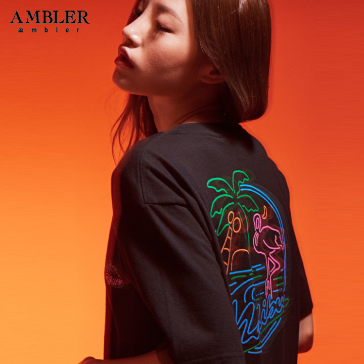 [엠블러]AMBLER 19SS 신상 반팔 티셔츠 AS635-블랙