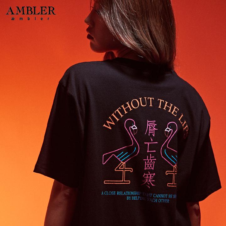 [엠블러]AMBLER 19SS 신상 반팔 티셔츠 AS636-블랙