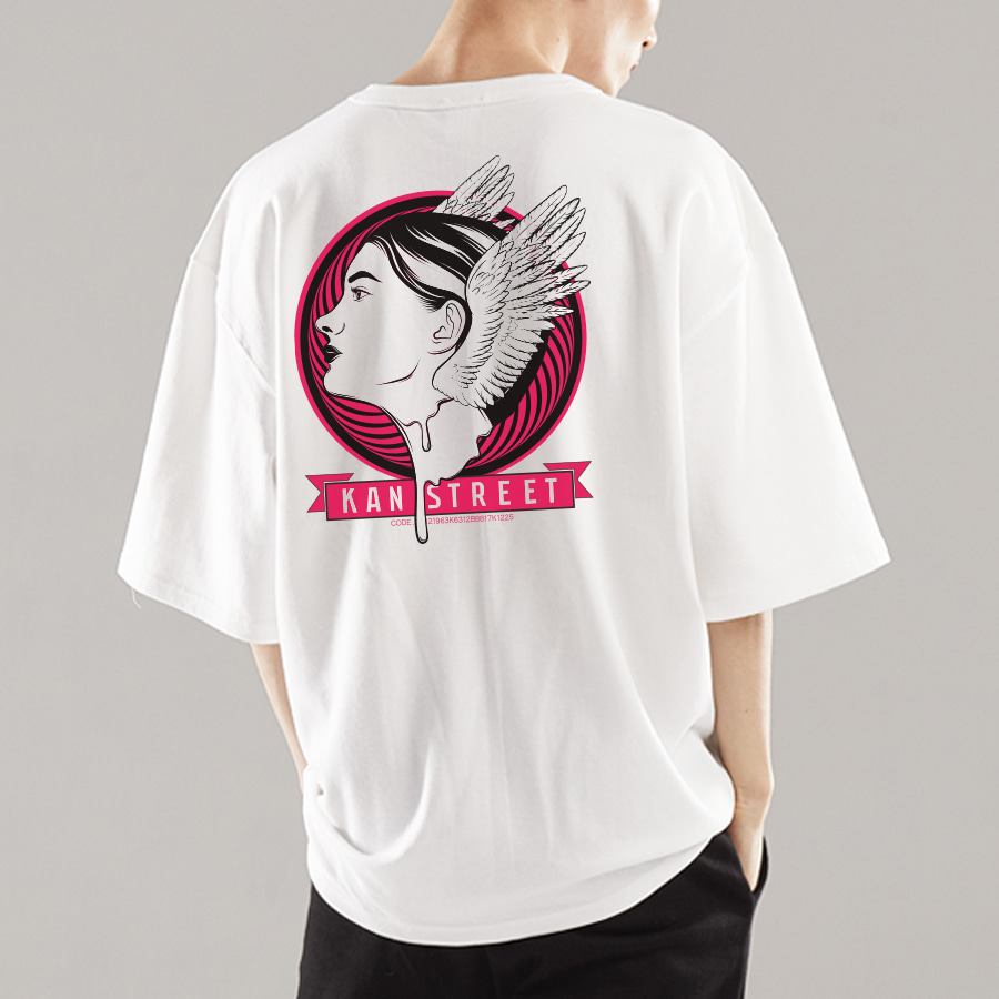 8부 오버핏 반팔 티셔츠 KETW0006 블랙