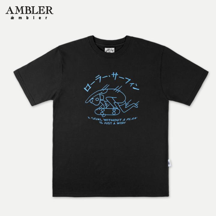 [엠블러]AMBLER 19SS 신상 반팔 티셔츠 AS641-블랙