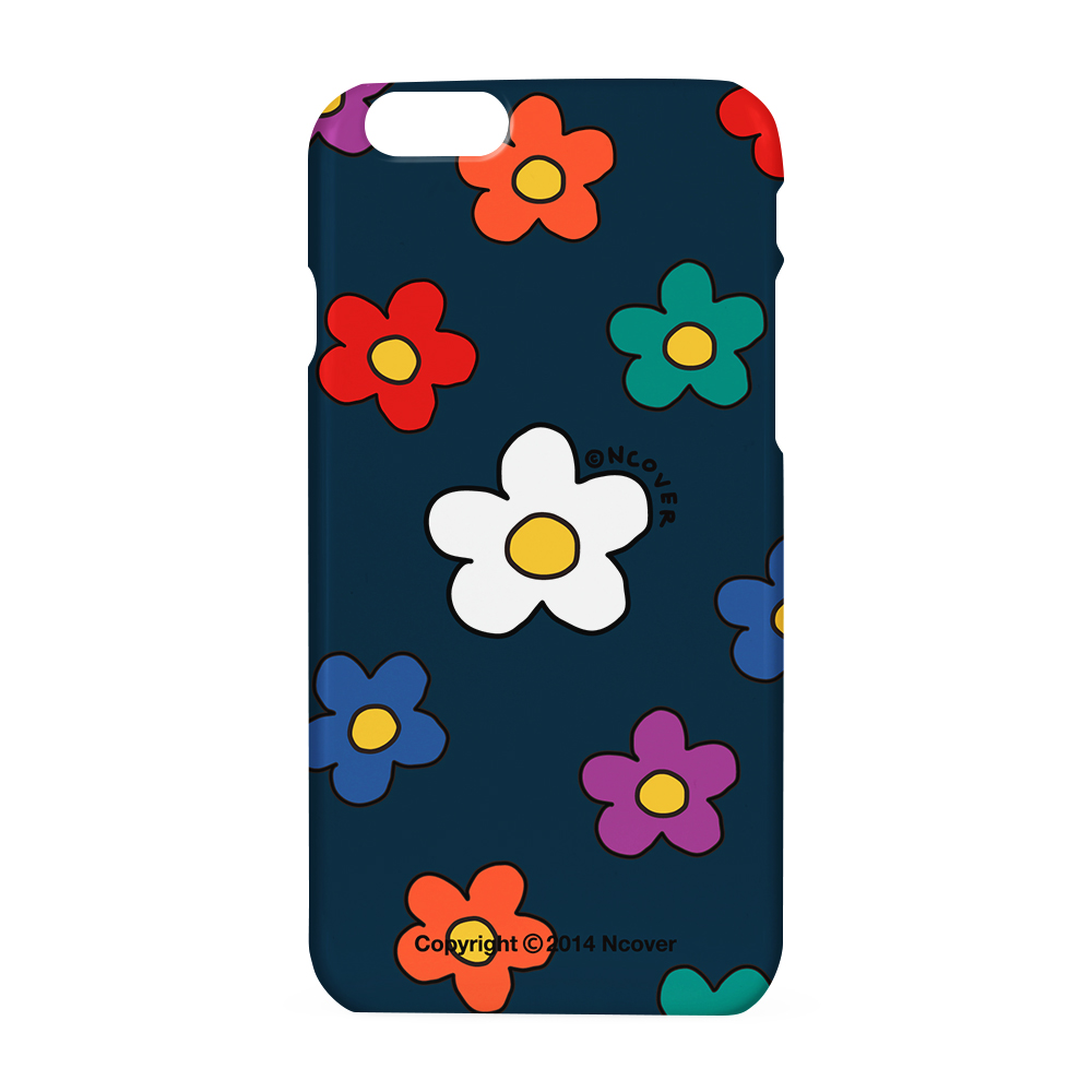 Big flower dot case-navy