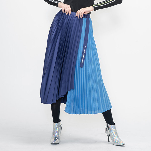 UNBALANCE PLEATS SKIRT(BLUE) -[MM-SK-913W]