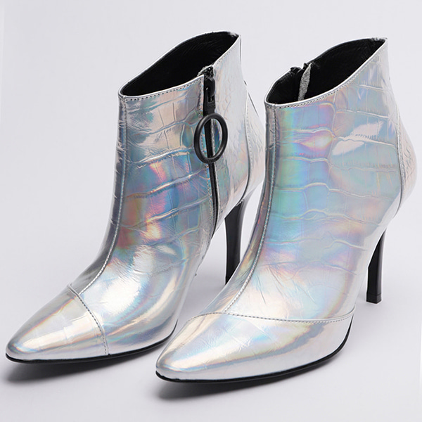 CROCODILE HIGH HEEL MIDDLE ANKLE BOOTS(HOLOGRAM)-【MMIC-S-AK-003-A】
