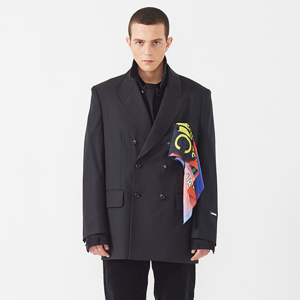 WOOL DOUBLE BREASTED JACKET- BLACK