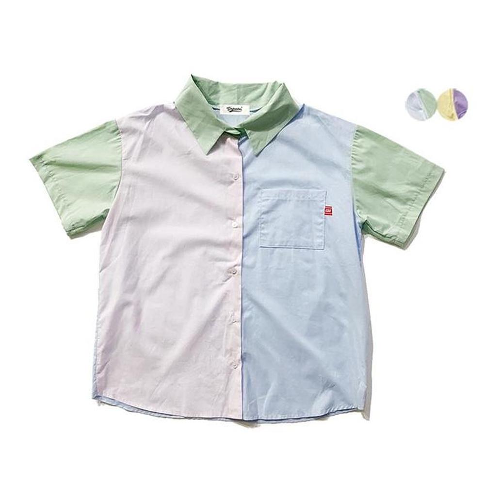 PASTEL COLOR PATCHWORK SHIRT(2color) 파스텔 컬러 패치워크 셔츠