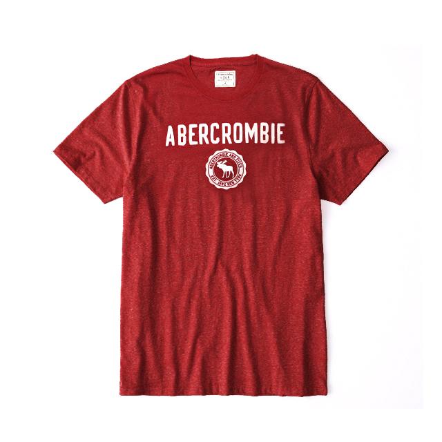 [국내배송]아베크롬비 로고 반팔 티셔츠 0075 050 레드 남녀공용
