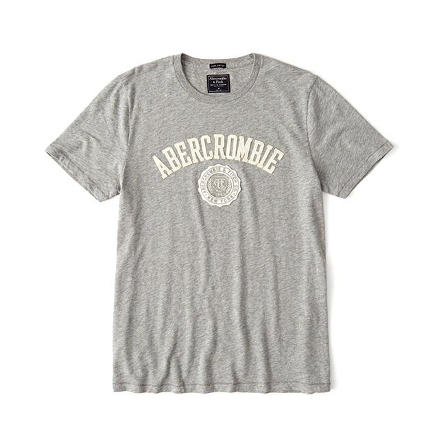 [국내배송]아베크롬비 로고 반팔 티셔츠 2395 120 그레이 남녀공용