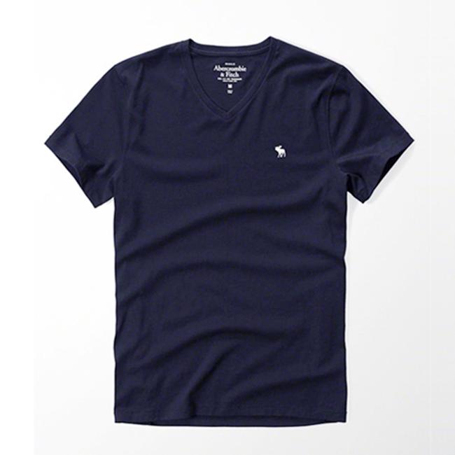 [국내배송]아베크롬비 로고 V넥 반팔 티셔츠 0103 023 네이비 남녀공용