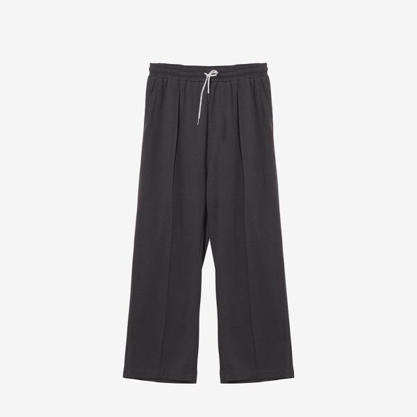 [1+1]NATURAL SLIT PANTS+HALF TEE SET_CHARCOAL