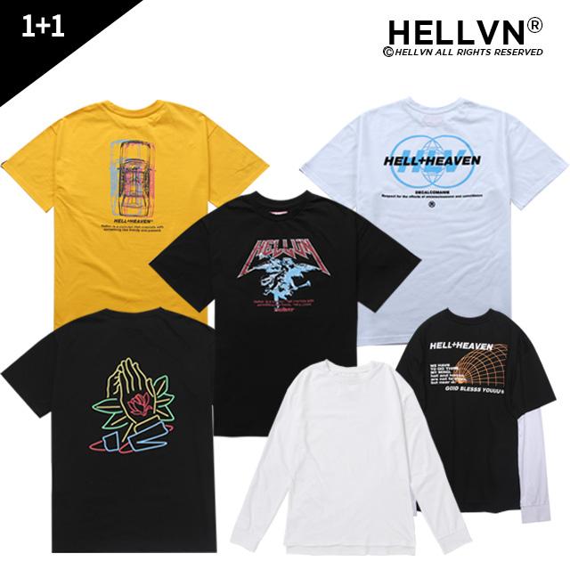 [1+1][크루비단독][레이어드SET] 헬븐 프리미엄 그래픽 티셔츠 - 8종