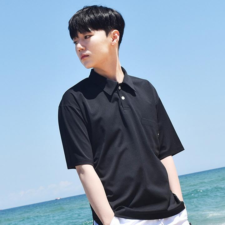 피케 포켓 카라 반팔셔츠 Pique Pocket Collar Short Shirt - Black