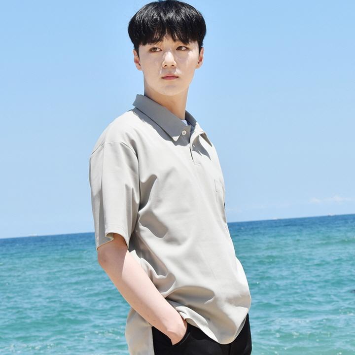 피케 포켓 카라 반팔셔츠 Pique Pocket Collar Short Shirt - Khaki