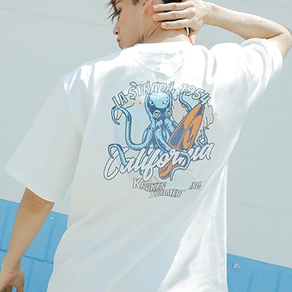 Surfing Kraken half T-shirt_lotw0001
