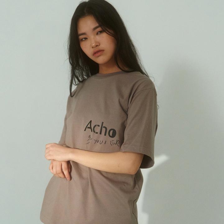 [아쵸]유니섹스 로고 티셔츠 그레이