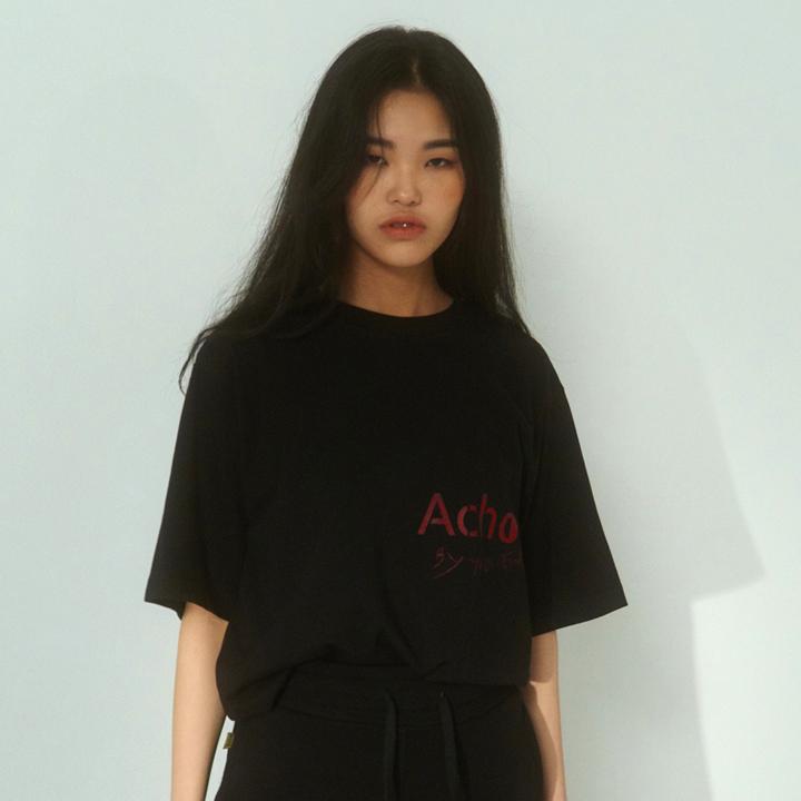 [아쵸]유니섹스 로고 티셔츠 블랙