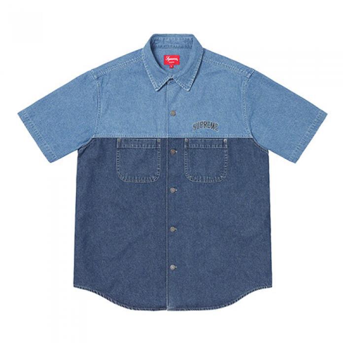 [슈프림 셔츠] 2-TONE DENIM S/S SHIRT-BLUE