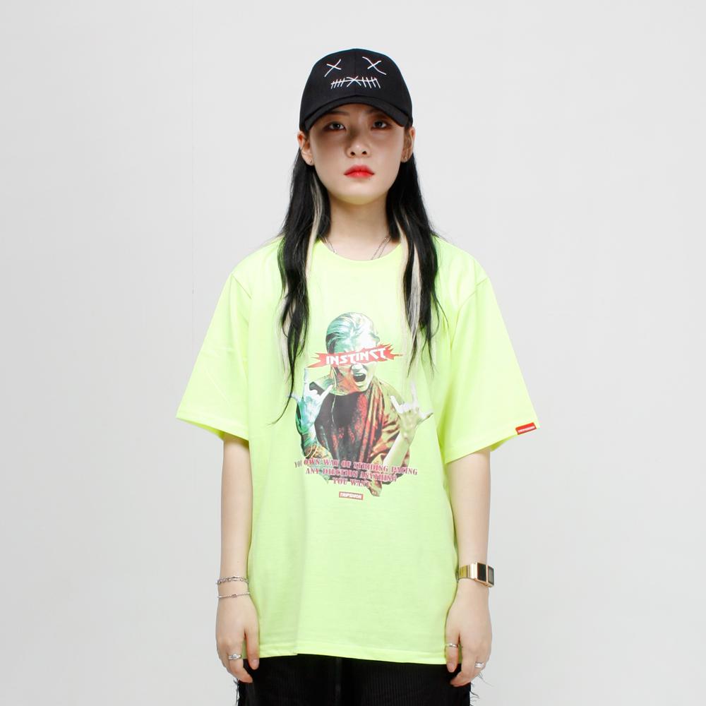 ROCK PEACE 티셔츠 - 형광