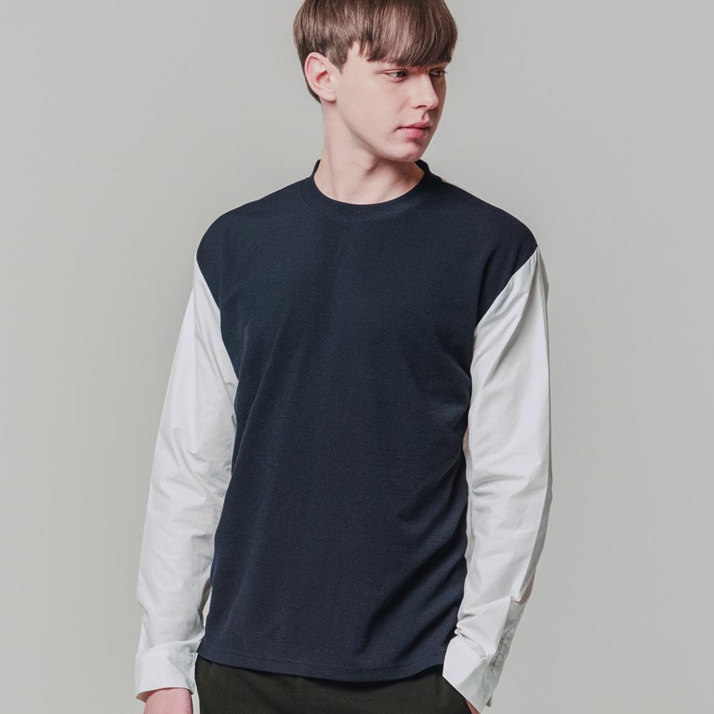 티셔츠형 소매 셔츠 네이비