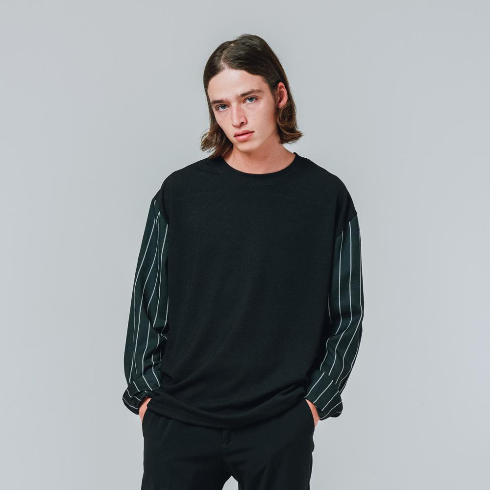 오버핏 티셔츠형 스트라이프 소매 셔츠 블랙