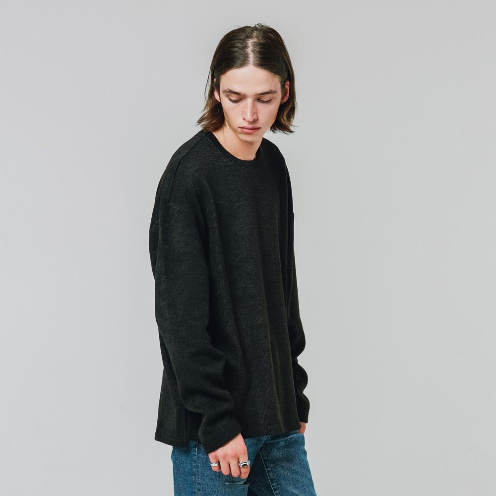 니트형 긴팔 롱티셔츠 블랙