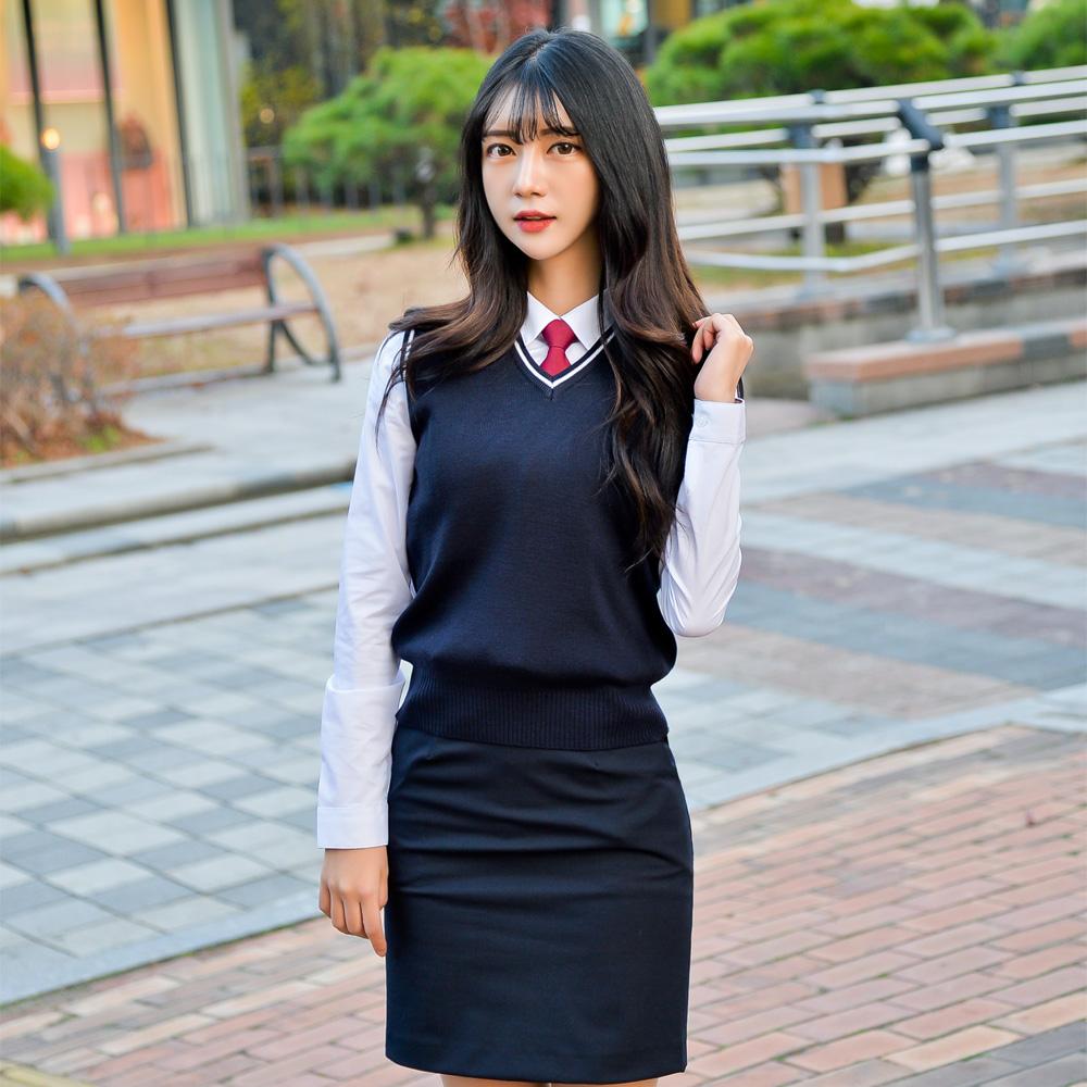 [빅사이즈] 네이비 화이트라인 교복조끼(여자) ~4XL