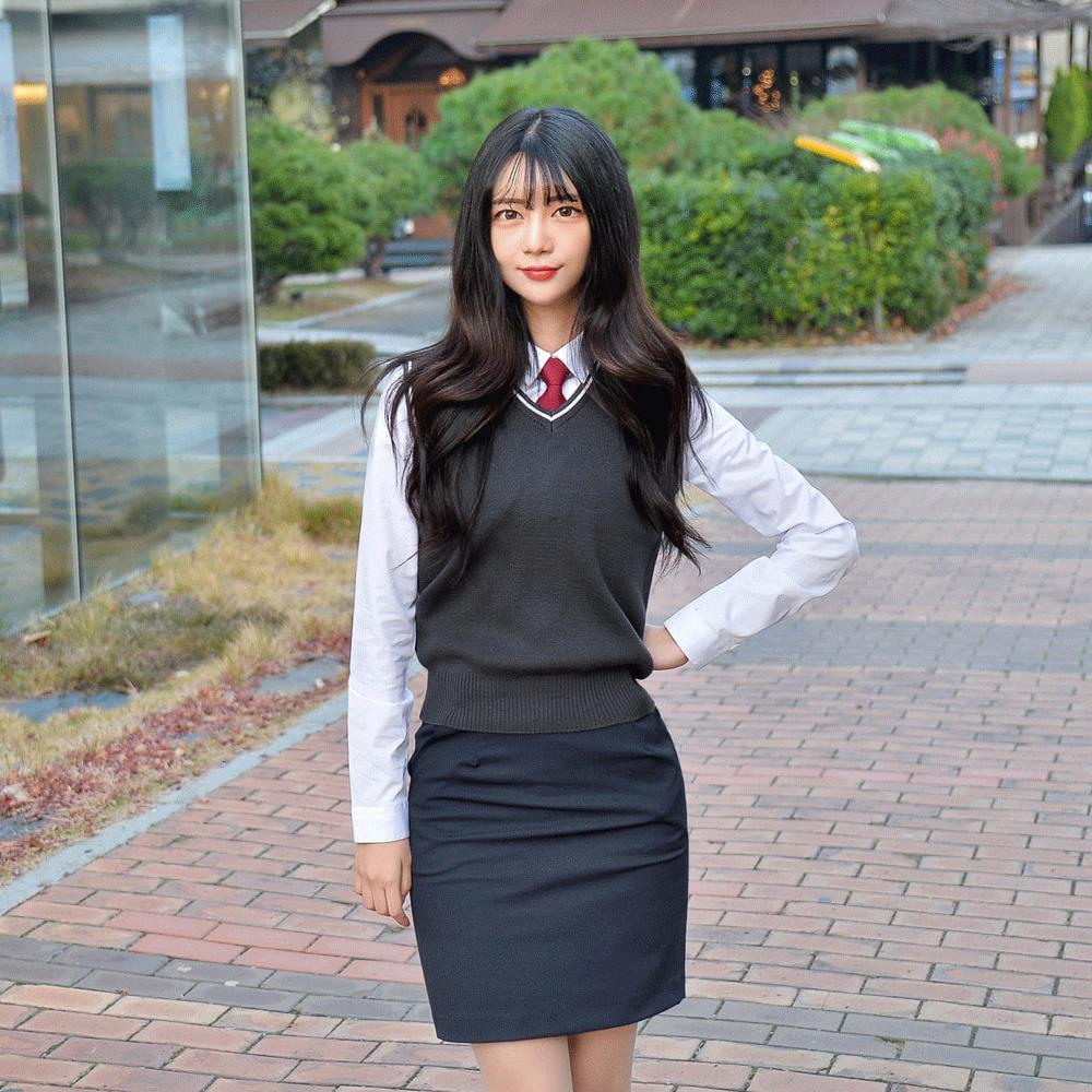 [빅사이즈] 그레이 화이트라인 교복조끼(여자) ~4XL