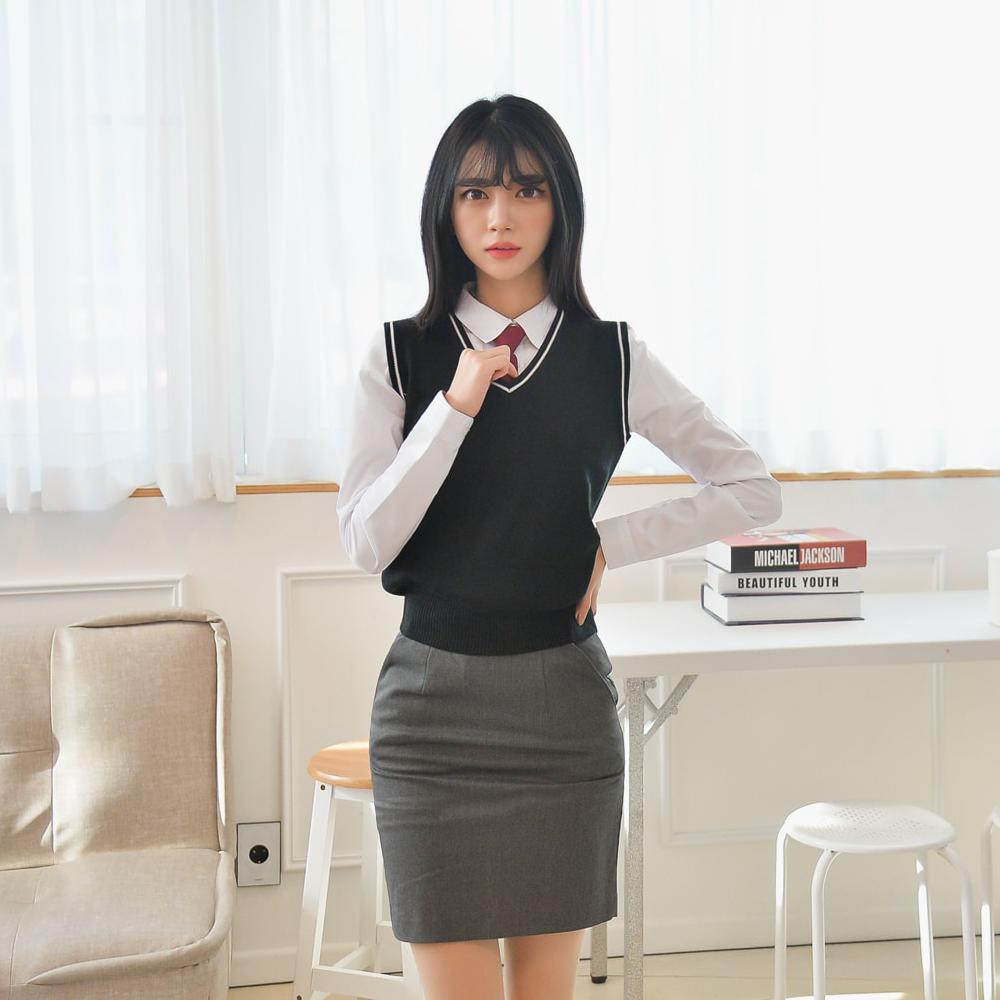 [빅사이즈] 블랙 화이트라인 교복조끼(여자) ~4XL