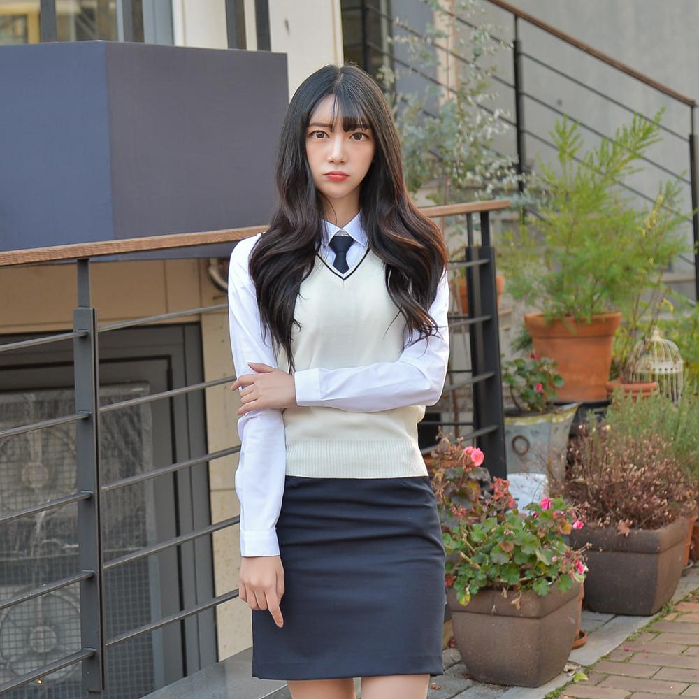 [빅사이즈] 아이보리 블랙라인 교복조끼(여자) ~4XL