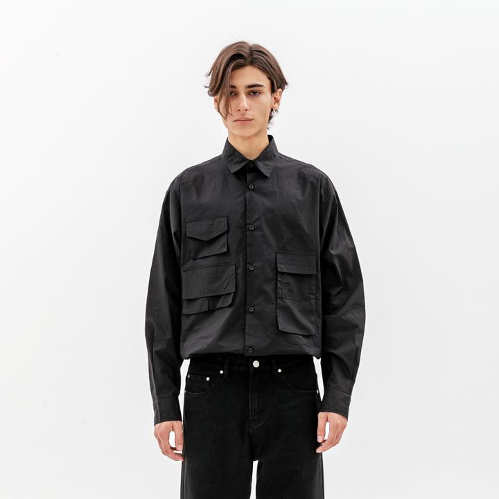 테크 오버핏 포켓 셔츠 블랙